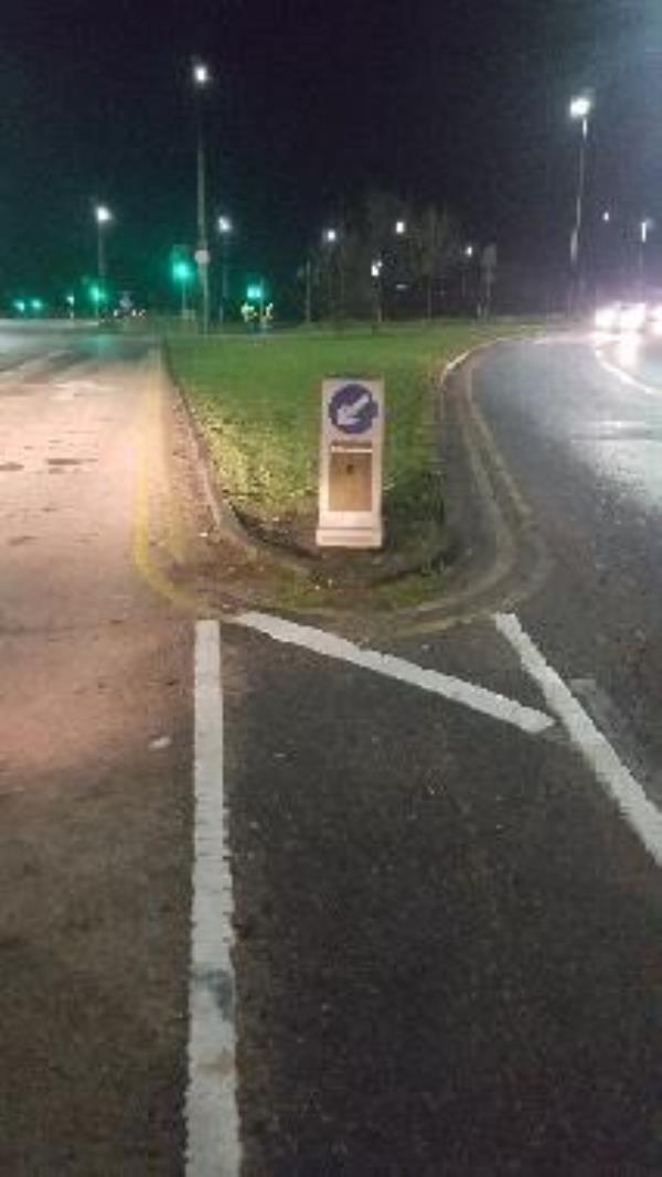 This traffic bollard's bulb needs replacing. It is situated on Victoria Road East near roundabout on Thurmaston Lane.-12 Snape Cl, Leicester LE5 1LY, UK