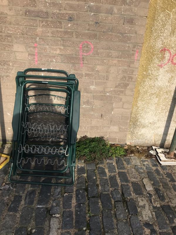 Chairs flytipped -3 Ripley Road, London, E16 3EA