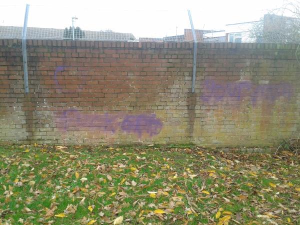 Remove Graffiti from Estate boundary wall opp Wg Grace centre-2 Lions Close, London, SE9 4HG