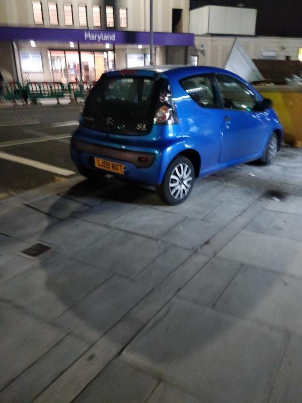 Car parked on the pavement beside 41 Leytonstone Road E15-41 Leytonstone Road, London, E15 1JA