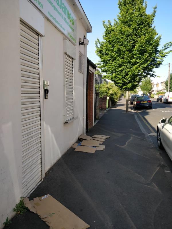 Dumped cardboard on Buxton Road pavement beside 62a Leytonstone Road-62c Leytonstone Road, London, E15 1SQ