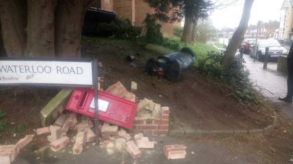 Bin. post box Waterloo road smashed -102 Waterloo Rd, Reading RG2 0AG, UK