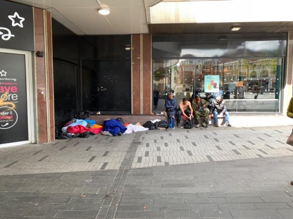 Drug debris, begging, rubbish, vermin-48 Broadway, London E15 1NG, UK