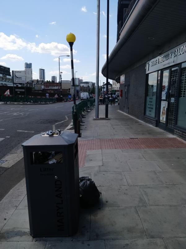 Overflowing litter Bin box beside 3 Forest Lane E15-3 Forest Lane, London, E15 1HB