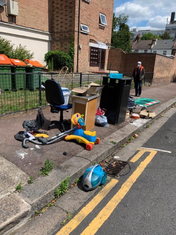Stuff dumped on pavement -16 Navarre Road, East Ham, E6 3AQ
