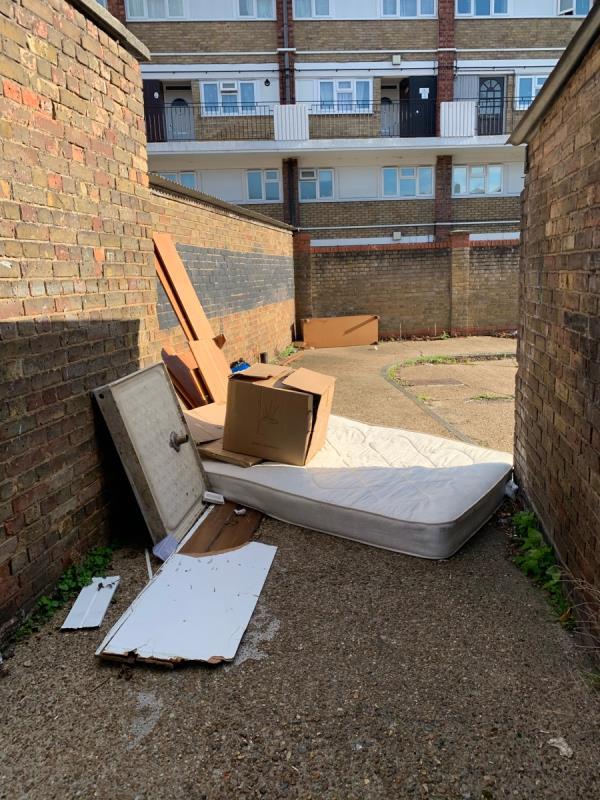 Rubbish, mattress, broker glass,  to be remkved -262a Barking Road, Plaistow, E13 8HR
