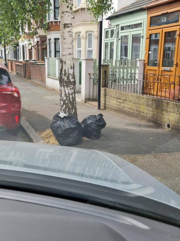 2 black bags-89 Wakefield Street, East Ham, E6 1NR