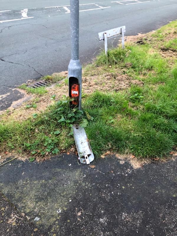 Electrics exposed on street sign-42 Heath Lane, Chester, CH3 5SZ