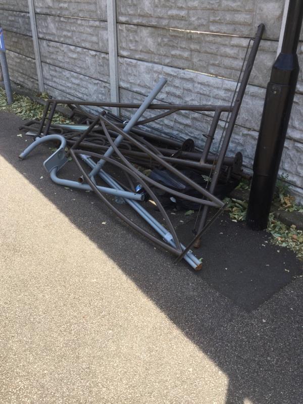 Discarded metal frames  image 2-19 Pollard Close, London, E16 1LG