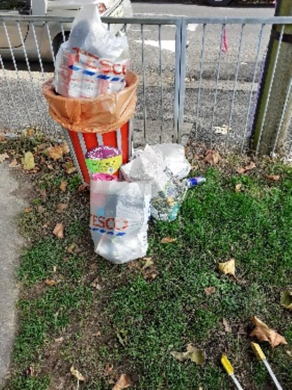 domestic waste left by bin -89 Kensington Road, Reading, RG30 2SY