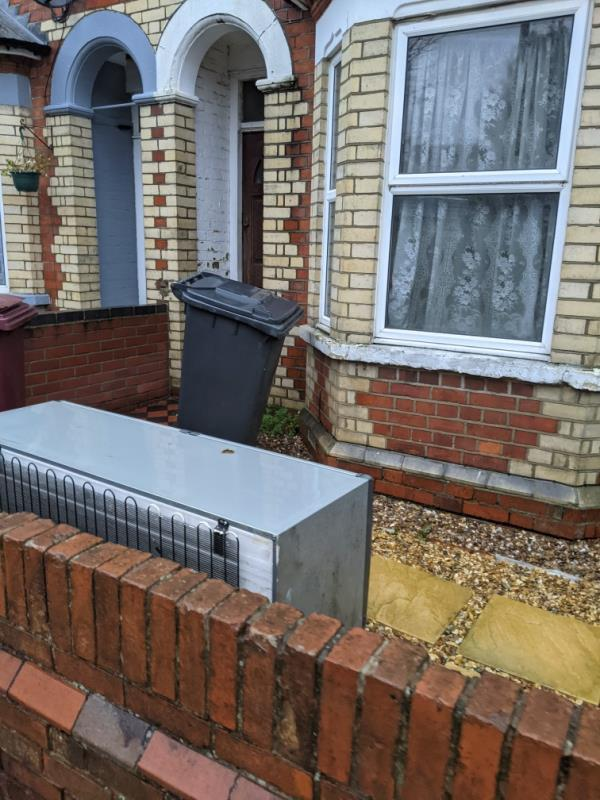 this fridge has been out there for weeks. please inform owner to place it in the backyard en 😃-60 Cholmeley Road, Reading, RG1 3NB