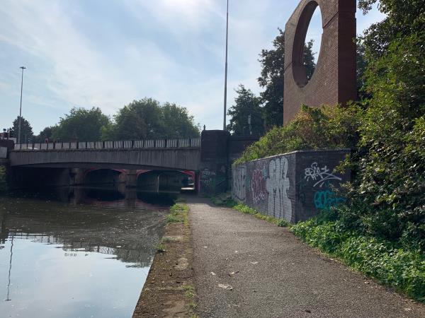 Graffiti all on the walls and underneath West Bridge-West Bridge, Leicester LE3 5LU, UK