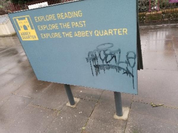 Graffiti on the information board -Abbots House, 189 Abbey St, Reading RG1 3BD, UK