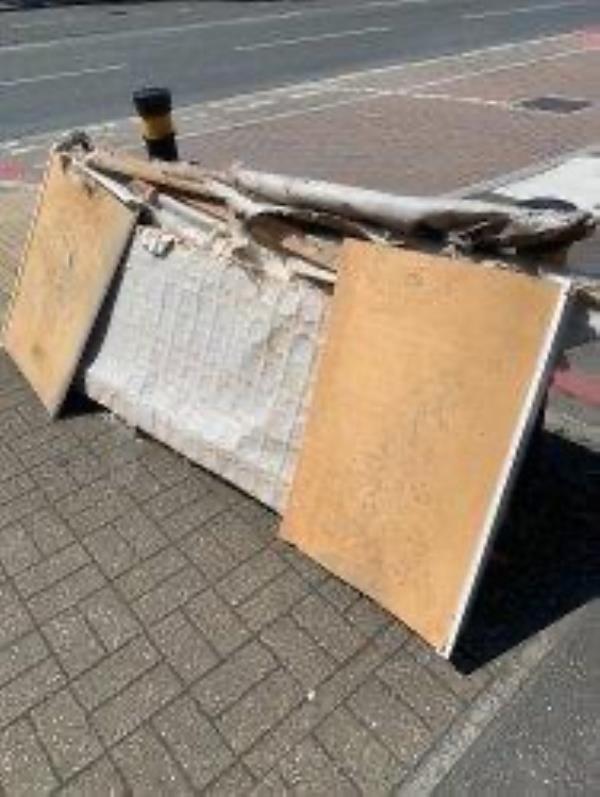 Junction of Oldstead Road. Please clear flytip-361 Bromley Road, Bromley, SE6 2RP