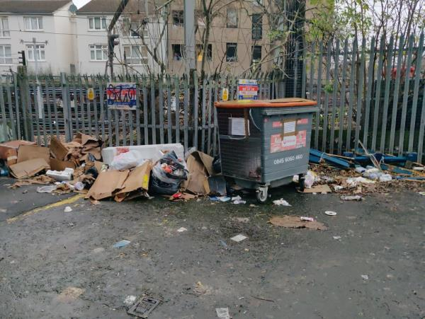 the location is actually at the rear of opus studios on ashburton terrace. which is accessed off Grasmere road which is itself off Plaistow high Street.   partly fly-tipping in the form of some broken old pallets, but also overflow from the recycling bins which are insufficient for the location. the rubbish has blown all up and down the street so extra attention from Street sweepers will also be required.-Opus Studios, 214 Plaistow Road, London, E13 0AL