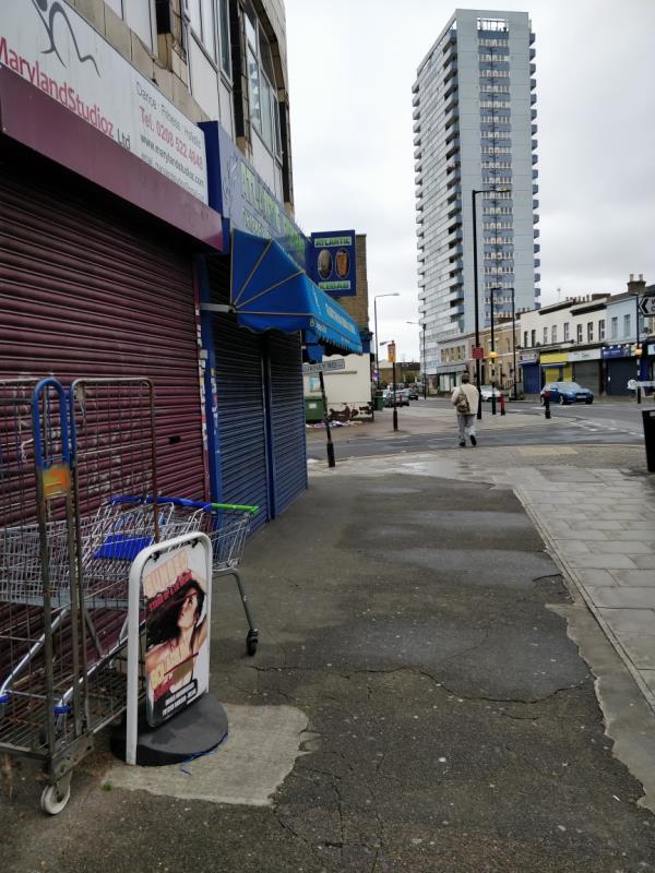 Dumped trollies on the pavement 84 Leytonstone Road E15-161c Leytonstone Road, London, E15 1LH