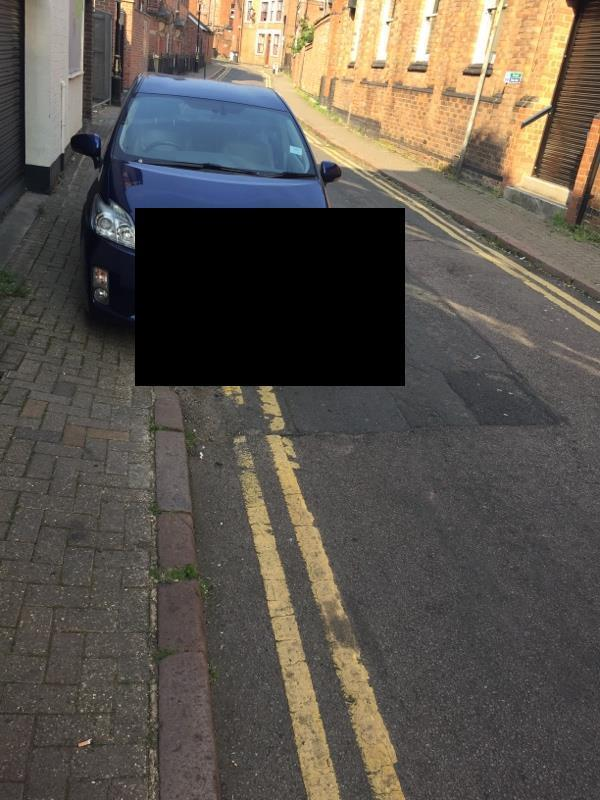 Car parked on double yellow lines. Mill hill lane. No one in car, not loading, no disabled badge. -2 Mill Hill Lane, Leicester, LE2 1EB