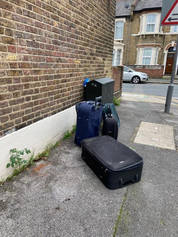 Luggages left on the corner between Ismailia road and Elmhurst Road -11 Elmhurst Rd, London E7 9PQ, UK