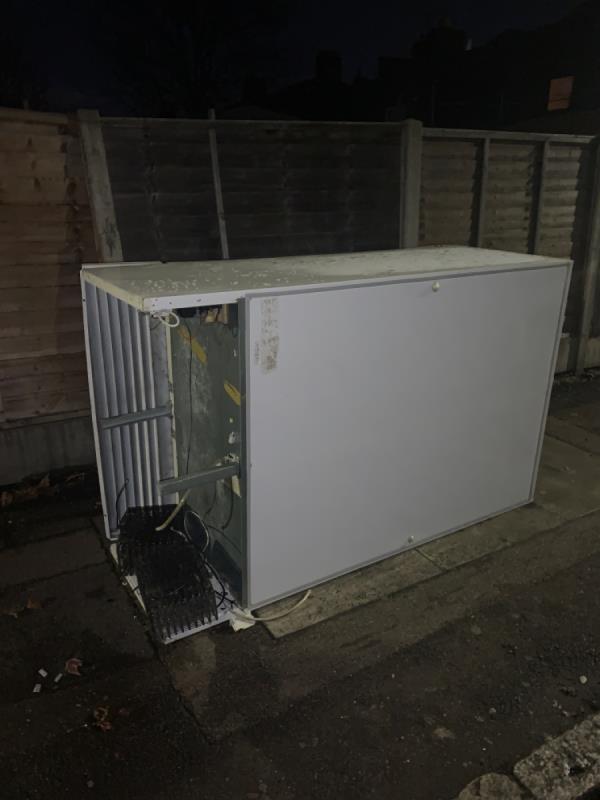 Large freezer dumped on pavement -35a Nelson Street, London, E6 2SE
