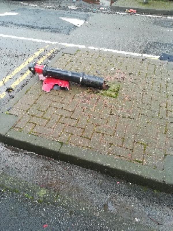 Bollard broke-67 Vicarage Road, Wolverhampton, WV2 1DH
