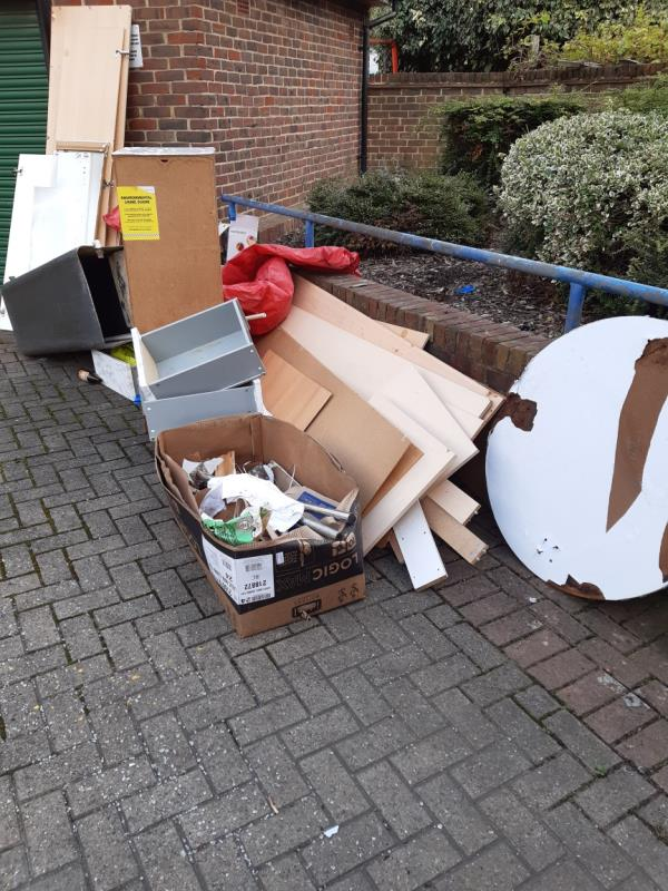 Large amount of broken furniture,  cardboard boxes -20 Mason Cl, London E16 1LF, UK