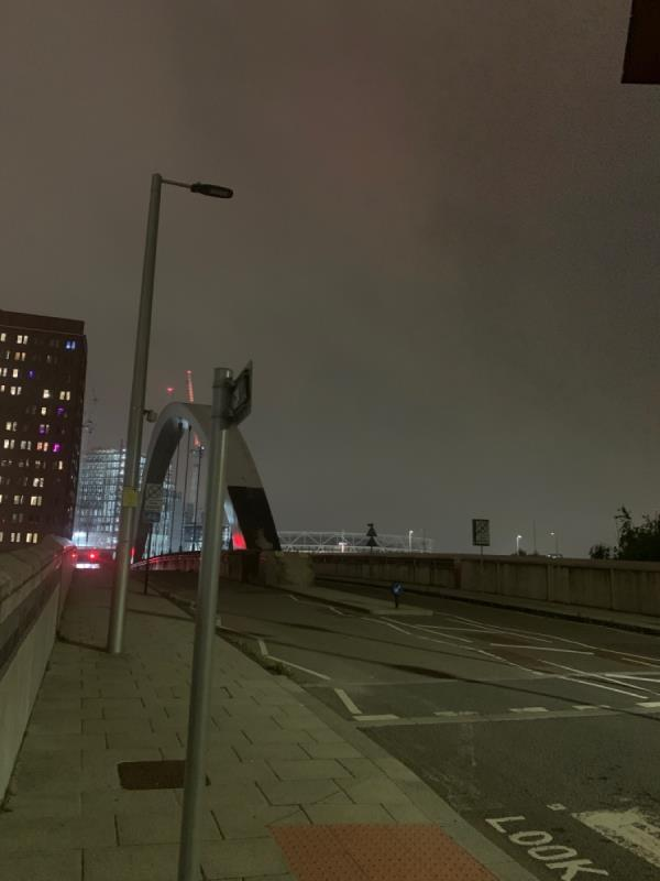 1, 2 and 3 street lights out. Cycle lane and warning signs out and bridge is not lighting up. Very unsafe walking in here at night. -Portlands Court, London E20 1JW, UK