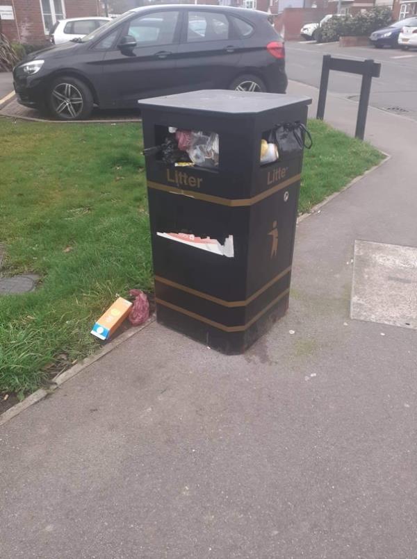 Overflowing waste, Denmark Street-67 Denmark Street, Aldershot, GU12 4TL