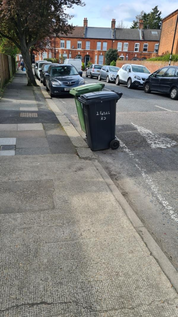 Bins blocking road-2 Fordel Road, London, SE6 1XP