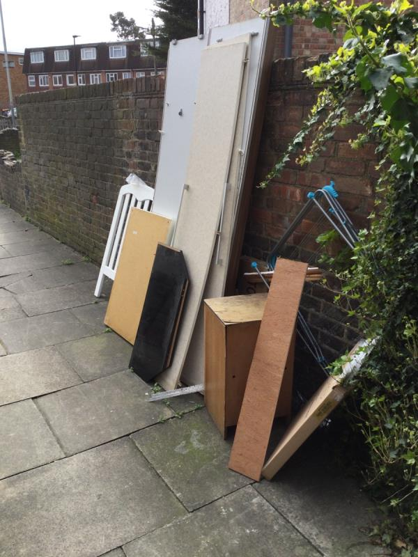 Wood panels dumped-101 Colman Road, Canning Town, E16 3JZ