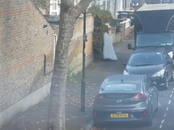 mattress dumped by neighbours-53 Frinton Road, London, E6 3EZ