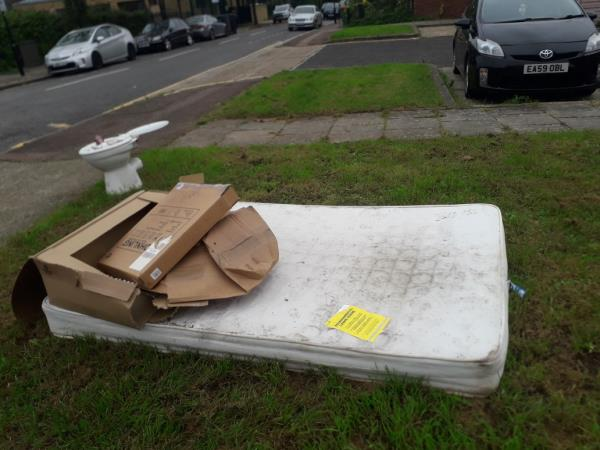 mattress, cardboard and toilet seat -28B Wakelin Rd, London E15 3BH, UK