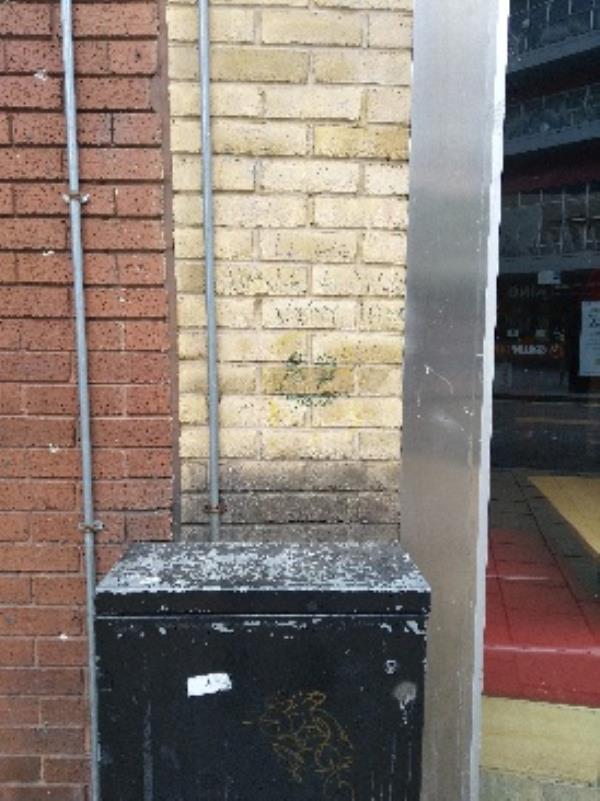 graffit on left hand side of pizza hut on Haymarket street-8 Haymarket, Leicester, LE1 3GD