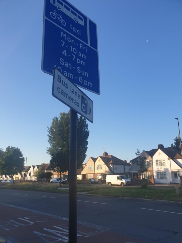 bus lane sign damaged-4 Longford Avenue, London, UB1 3HR