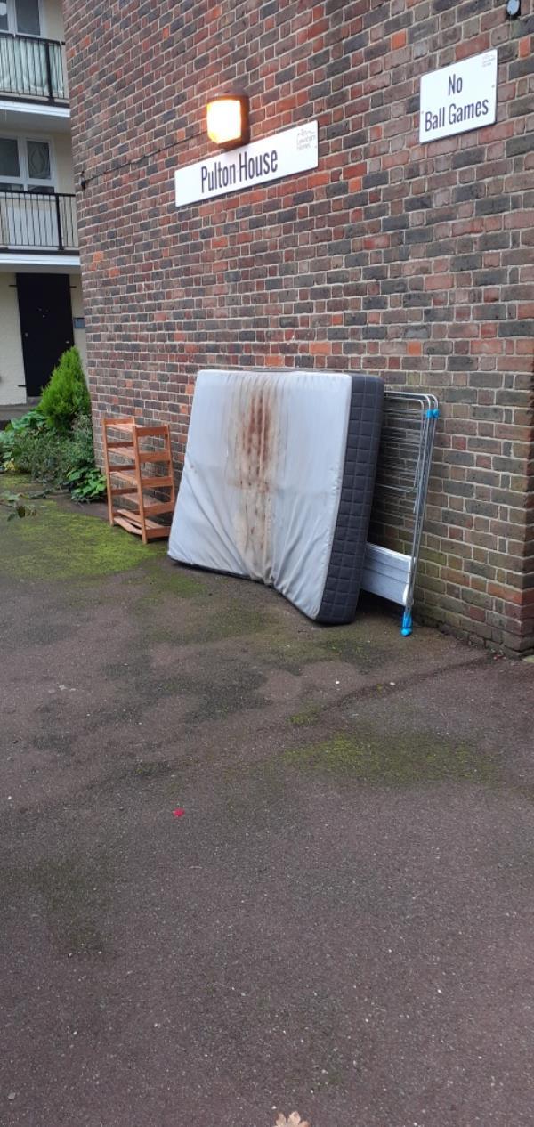 A mattress and broken furniture -Dereham House Frendsbury Road, Brockley, SE4 2JZ