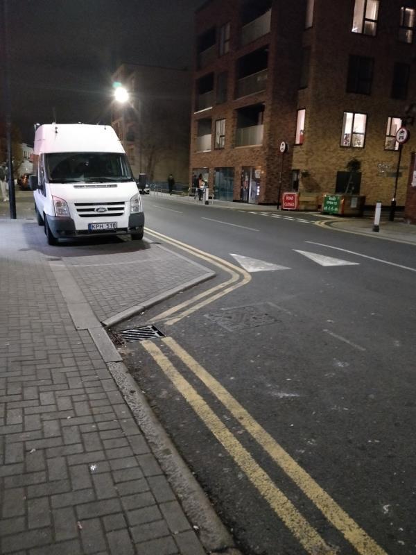 Vehicle illegally parked on the pavement beside 113 Leytonstone Road E15-113 Leytonstone Road, London, E15 1JA