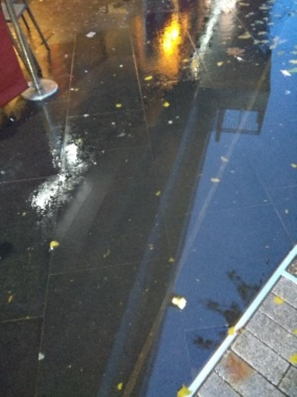 Drain on the pavement outside of costa coffee shop is blocked -Haymarket (Stand BE), Leicester LE1 3GD, UK