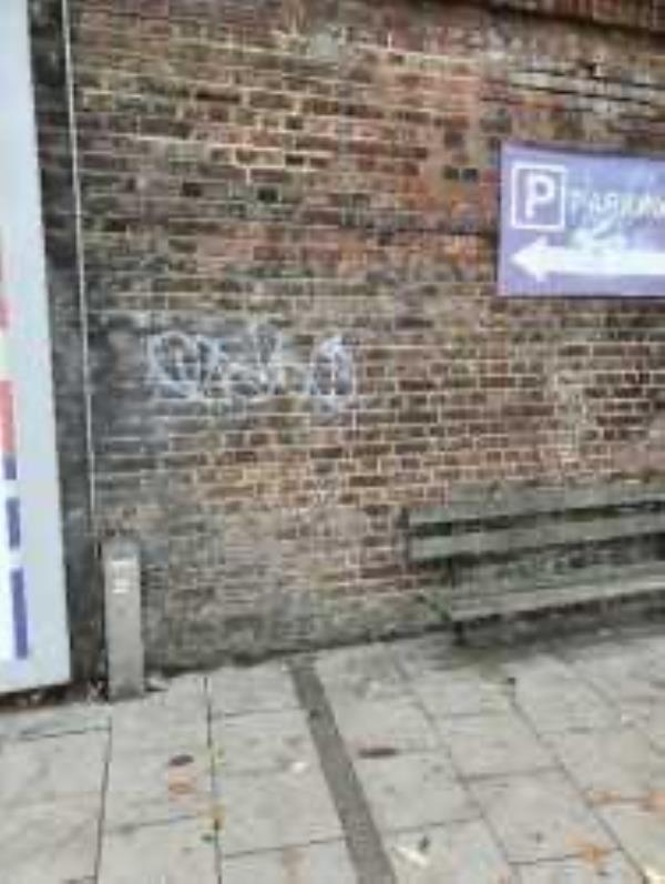 Remove graffiti from wall below Forest Hill Station platform-City Walk Apartments, 31 Perry Vale, London, SE23 2LF