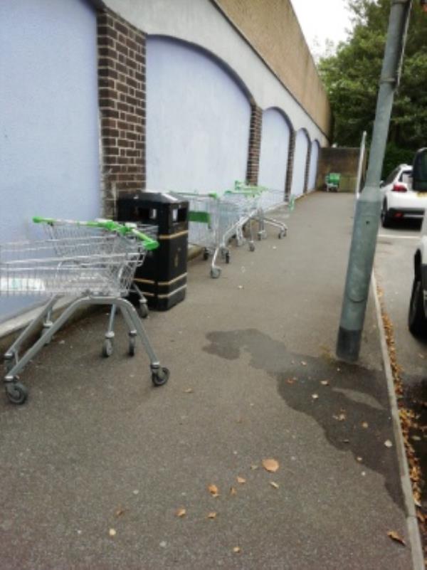 Lots of abandoned Asda trolleys in Kings Moat car park, behind Queensmead. -98a Queensmead, Farnborough, GU14 7SH