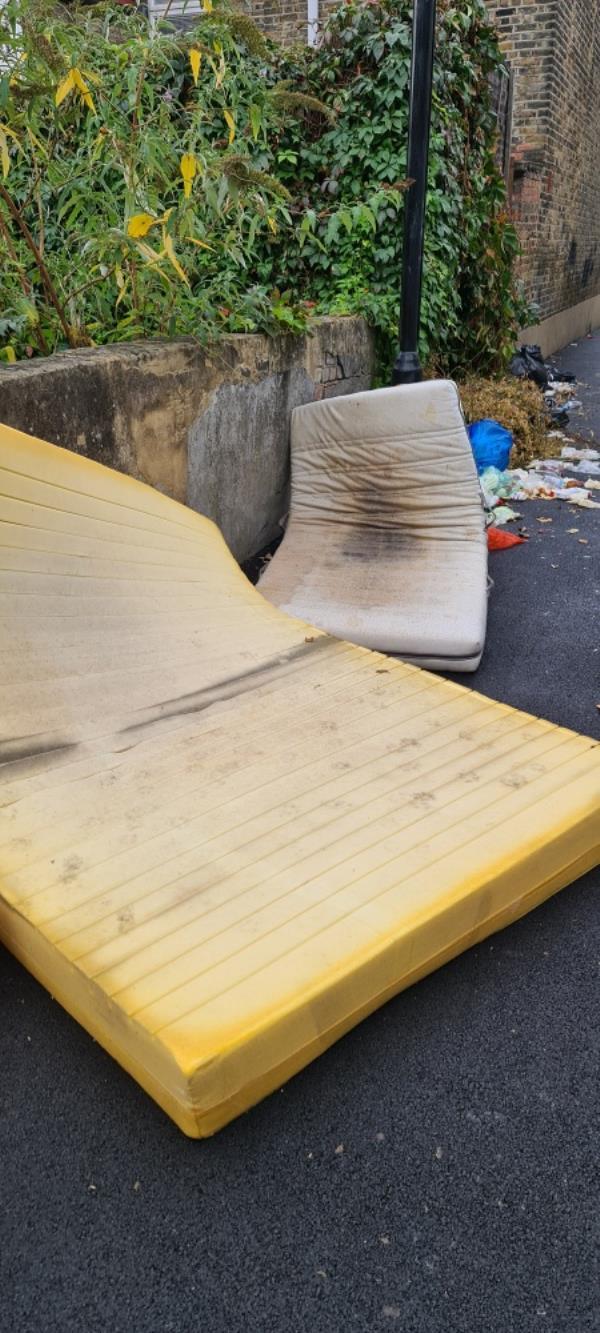 mattress  and household rubbish-60 Dundee Road, Plaistow, E13 0BQ