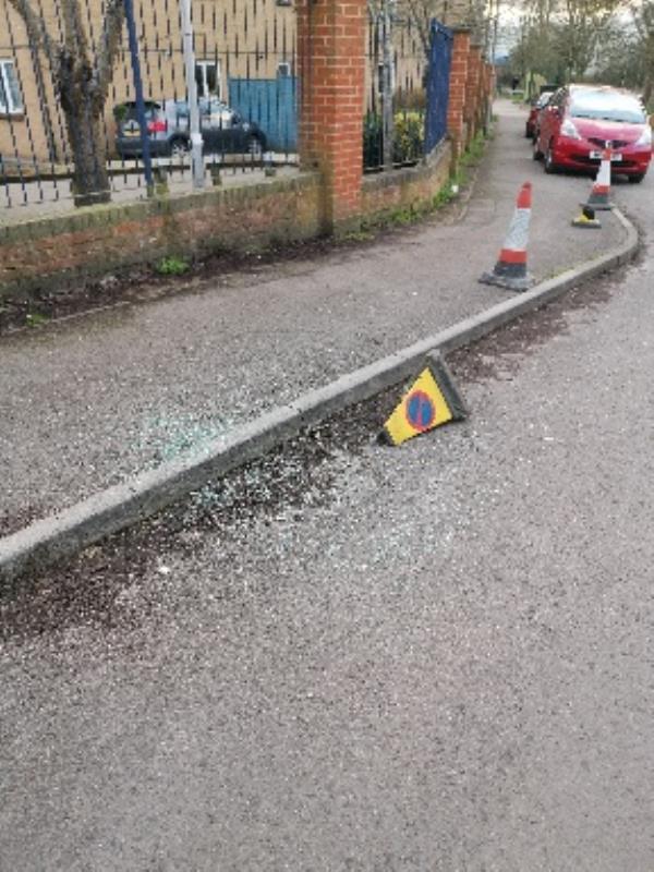 shattered glasses near children's centre-31 Park View, Reading, RG2 0BX