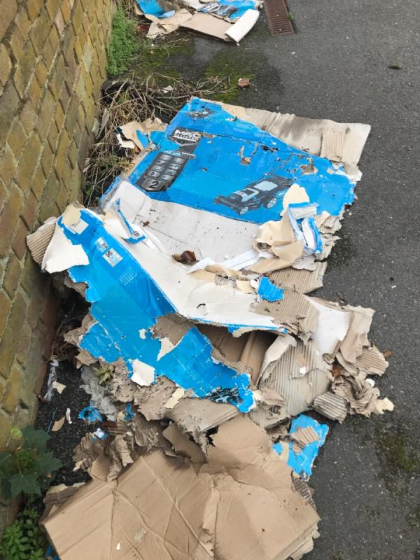 Rubbish in kids play area -56 Parry Ave, London E6 5NE, UK