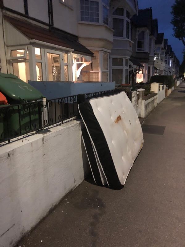 Bed left on pavement dumped -19 Montpelier Gardens, London, E6 3JB