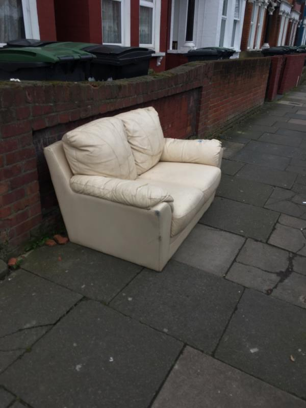 Sofa left outside 249 Mount Pleasant Rd N17-262 Mount Pleasant Road, Tottenham, N17 6EZ