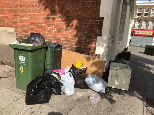 Black sacks fridge on canal walk rear Lloyd's bank. -12 Sydenham Rd, London SE26 5QD, UK