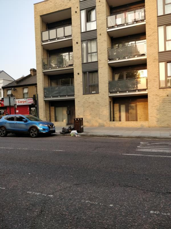 Flytipping on the pavement at 91-97 Leytonstone Road E15-89b Leytonstone Road, London, E15 1JA