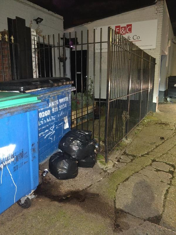 Dumped black bags of rubbish on the pavement beside 1 Francis Street off Leytonstone Road E15-1a Francis Street, London, E15 1JG