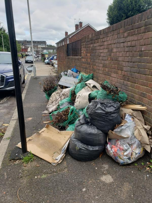 Large amount of rubbish that has been flytipped on Francis Street -46 Maryland Street, London, E15 1JD