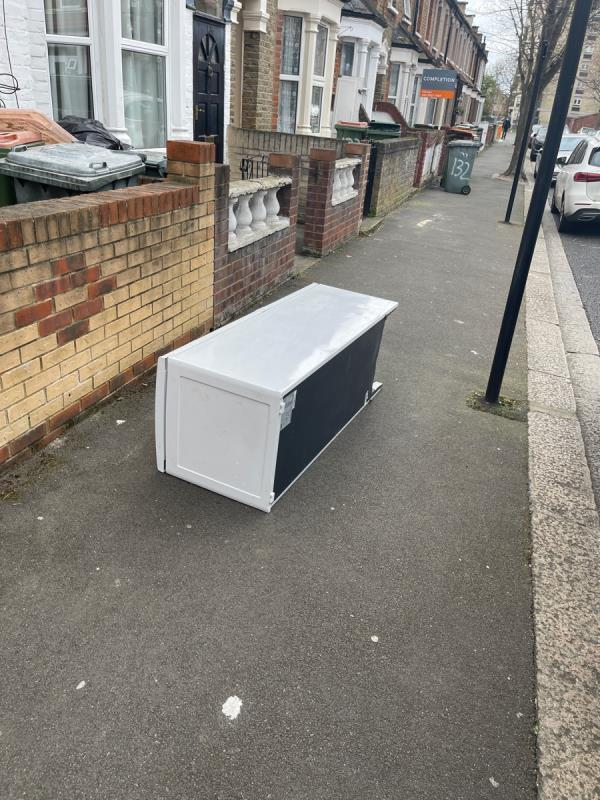 Some one left a fridge on the pavement -138 Haig Road East, Plaistow, E13 9LP