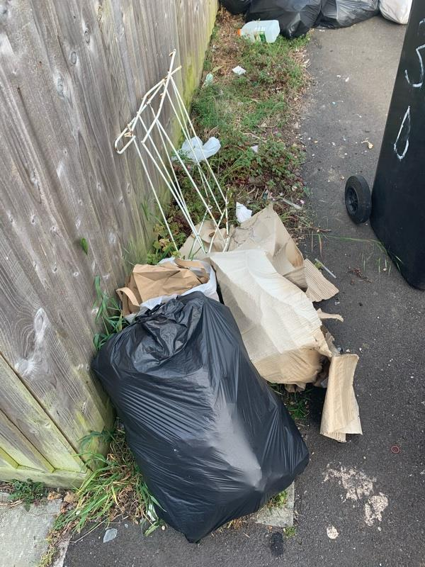 More fly tipping down the side of my property from these absolute disgusting excuses of human beings! -30b Don Close, Reading, RG30 4YL
