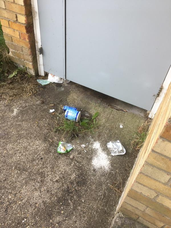 Not exactly been cleaned up this is what is left dirty nappy empty cans/takeaways container etc  To me it's obvious who is dumping rubbish outside 29-35 -55 Coronation Square, Reading RG30 3QP, UK